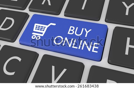 """Illustration of a blue computer keyboard button with a shopping cart symbol and the words """"Buy Online"""" - stock photo"""