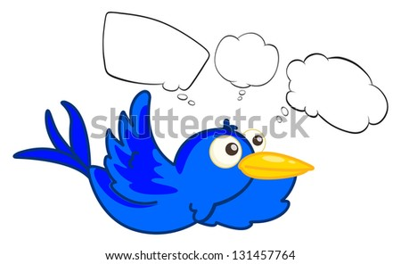 Illustration of a blue flying creature on a white background