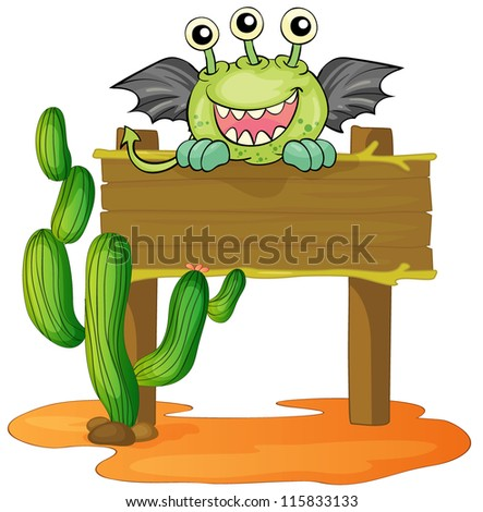 illustration of a board and a monster on a white background