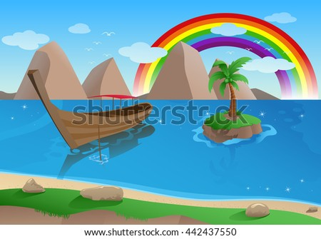 illustration of a boat on tropical beach - stock photo