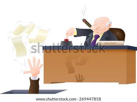 illustration of a boss fired his corporate employee loose holding his papers isolated on white - stock photo