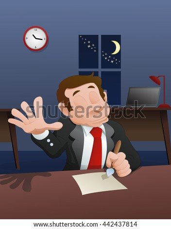 illustration of a boss signing a letter in late hour on office background - stock photo
