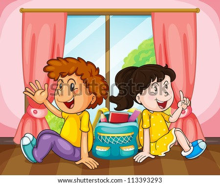 illustration of a boy and girl in room near window