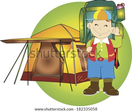 Illustration of a boy camping