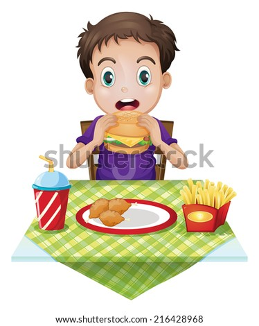 Illustration of a boy eating on a white background - stock photo