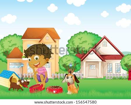 Illustration of a boy feeding his puppies