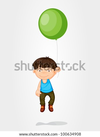 Illustration of a boy floating with a balloon - EPS VECTOR format also available in my portfolio. - stock photo
