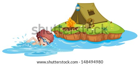 Illustration of a boy going to the campsite on a white background - stock photo
