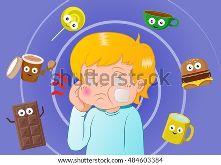 illustration of a boy had a toothache surrounding by sweet meal