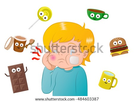 illustration of a boy had a toothache surrounding by sweet meal on isolated white background