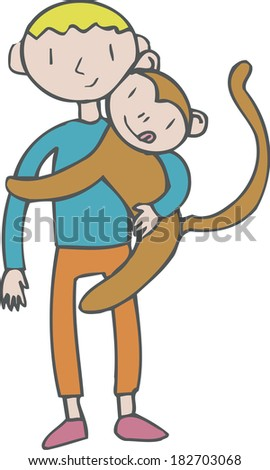 Illustration of a boy hugging a monkey