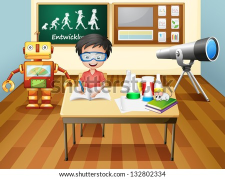 Illustration of a boy inside a science laboratory - stock photo