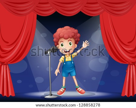Illustration of a boy performing on the stage - stock photo