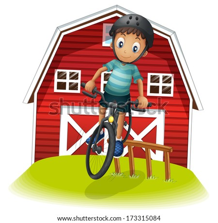 Illustration of a boy playing with his bike in front of the barnhouse on a white background - stock photo