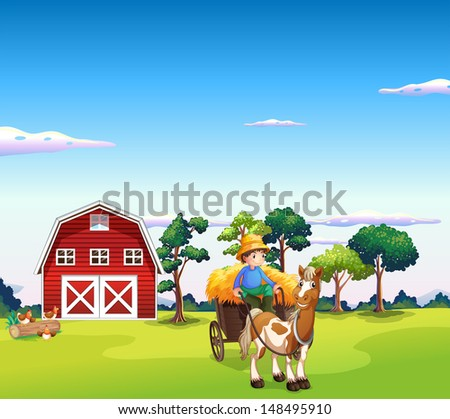 Illustration of a boy riding on a carriage with a barn at the back