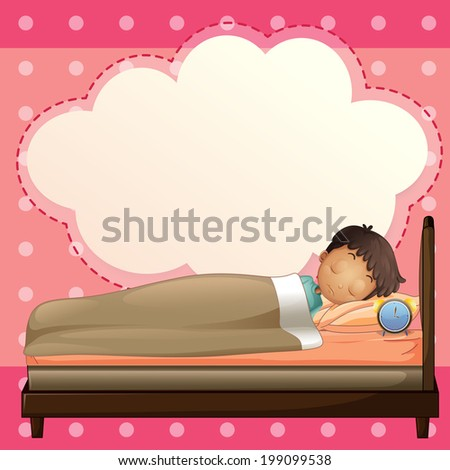 Illustration of a boy sleeping with an empty callout template - stock photo