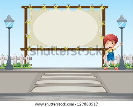 Illustration of a boy waving his hand near a signboard