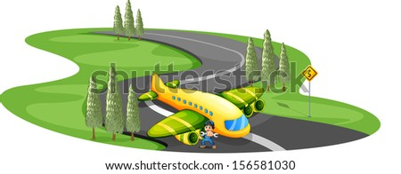Illustration of a boy with a plane landing at the long winding road on a white background
