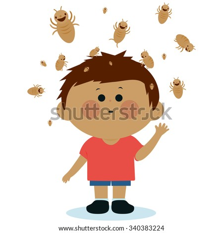 Illustration of a boy with lice on his head. - stock photo