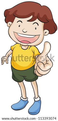 illustration of a boy with thumbs up on a white background - stock photo