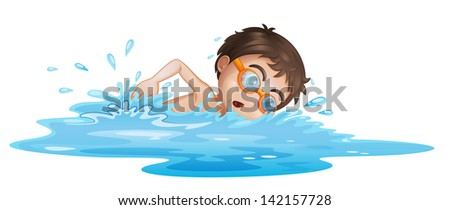 Illustration of a boy with yellow goggles on a white background - stock photo