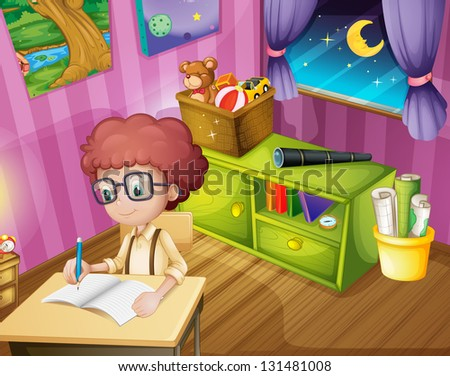 Illustration of a boy writing inside his room