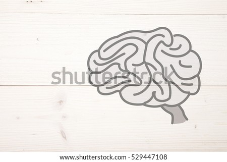 Illustration of a brain on wooden background