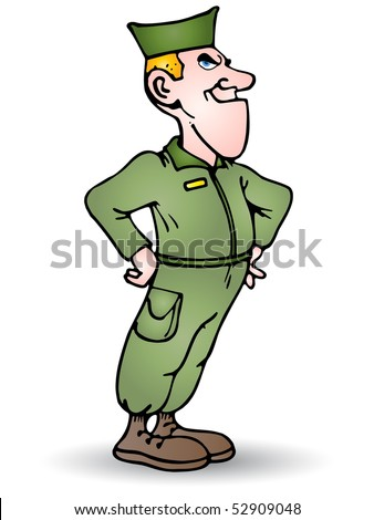 illustration of a brave soldier standing - stock photo