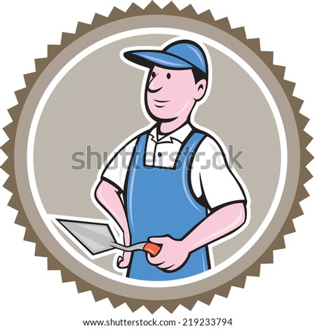 Illustration of a bricklayer mason plasterer worker standing holding a trowel set inside rosette on isolated background done in cartoon  style. - stock photo