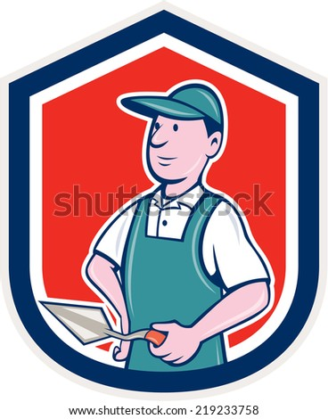 Illustration of a bricklayer mason plasterer worker standing holding a trowel set inside shield crest on isolated background done in cartoon  style. - stock photo