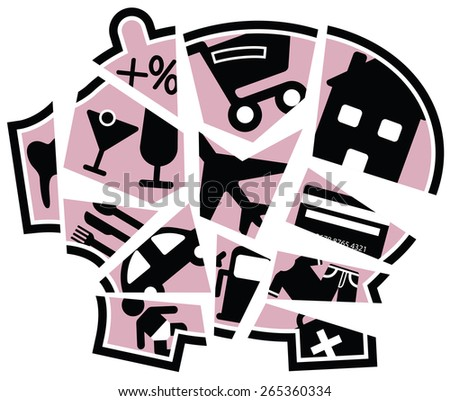 Illustration of a broken piggy bank with each segment representing a daily expense - stock photo