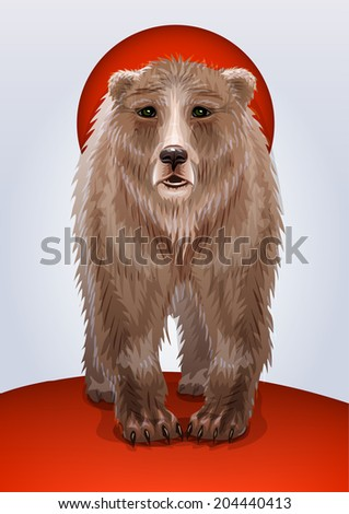 Illustration of a brown bear, symbol of Russia or USSR, Russian military territorial expansion
