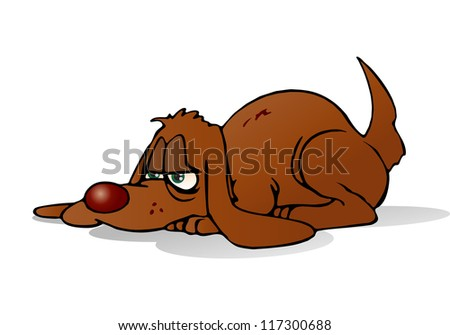 illustration of a brown lazy dog on isolated white background - stock photo