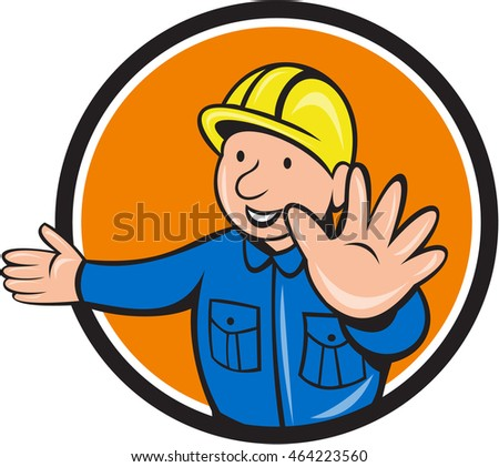 Illustration of a builder construction worker wearing hardhat doing hand stop signal viewed from front set inside circle on isolated background done in cartoon style.
