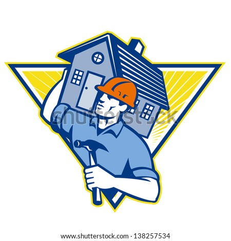 Illustration of a builder construction worker with hammer carrying house on shoulders set inside triangle  done in retro style.