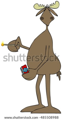 Illustration of a bull moose holding a lit match and a box in the other.