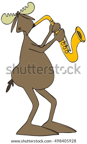 Illustration of a bull moose playing a brass saxophone.