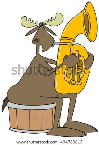 Illustration of a bull moose sitting on a half barrel and playing a brass tuba.