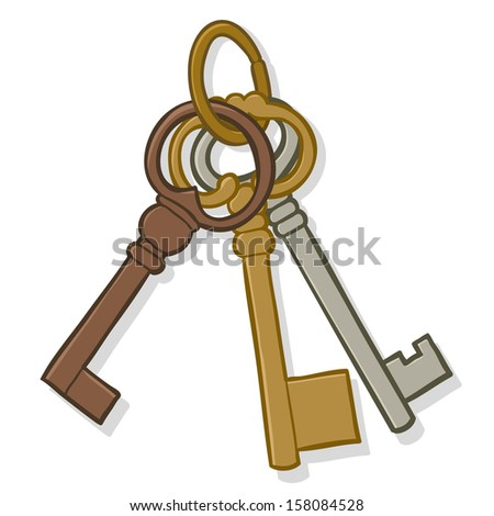 Illustration of a bunch of three different old simple brass metal keys on a keyring isolated on white - stock photo