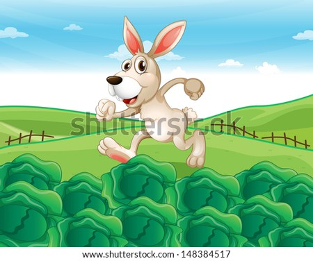 Illustration of a bunny running at the farm