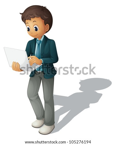 Illustration of a business guy using a computer - stock photo