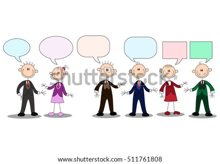 illustration of a business stick human conversation with empty chat bubble