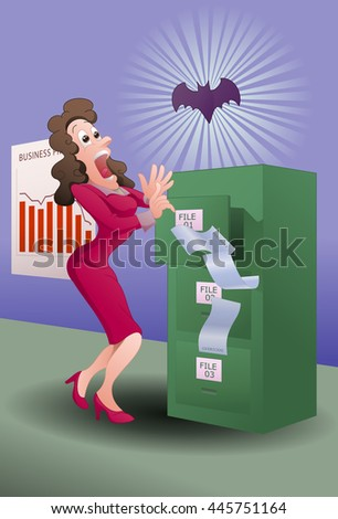 illustration of a business woman screaming seeing a bat in the office - stock photo