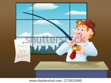 illustration of a businessman catch a banner in his fishing rod on office background - stock photo