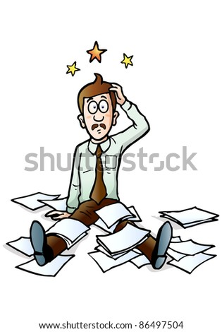illustration of a businessman collapsed on floor with all documents scattered around on isolated white background - stock photo