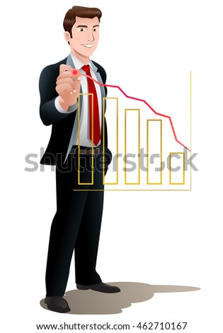 illustration of a businessman draw ascending profit of business on office chart on isolated white background
