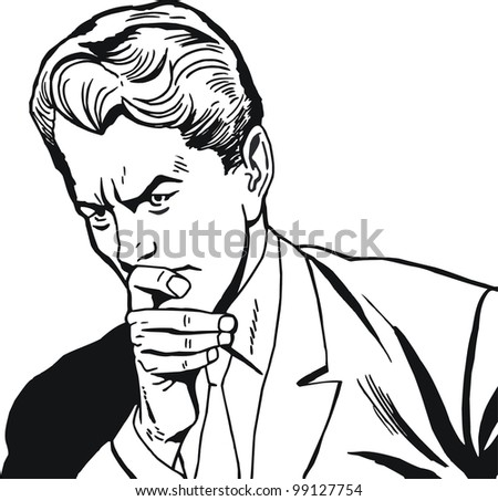 illustration of a businessman, drawn in comic style - stock photo