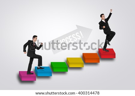 Illustration of a businessman going up on a stairs to success - stock photo