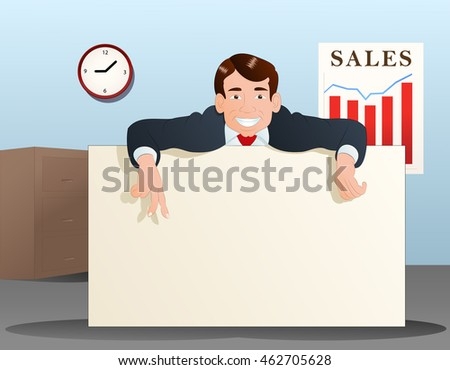 illustration of a businessman hold blank banner on office background