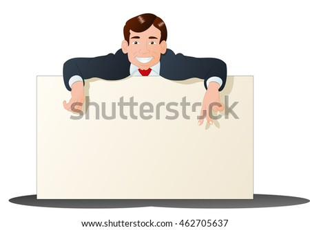 illustration of a businessman hold blank banner  over a  white background